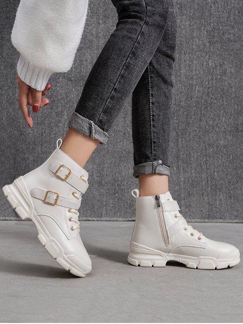 ladies Dual Buckle Mid Heel Short Boots - WHITE EU 36 Mobile