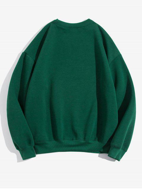 Sweat-shirt Décontracté Lettre Imprimée en Couleur Unie en Laine - Vert L Mobile