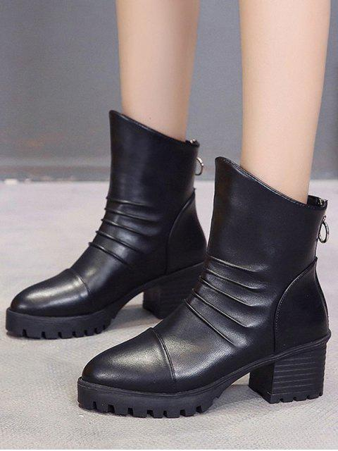 shop Pleated Pointed Toe Mid Heel Boots - BLACK EU 36 Mobile