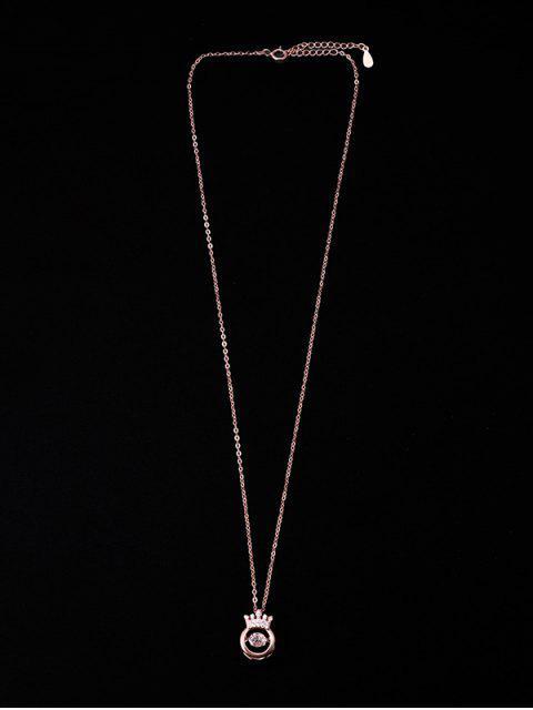 Collier Couronne Evidée Pendant en Zircon - Or de Rose CROWN Mobile