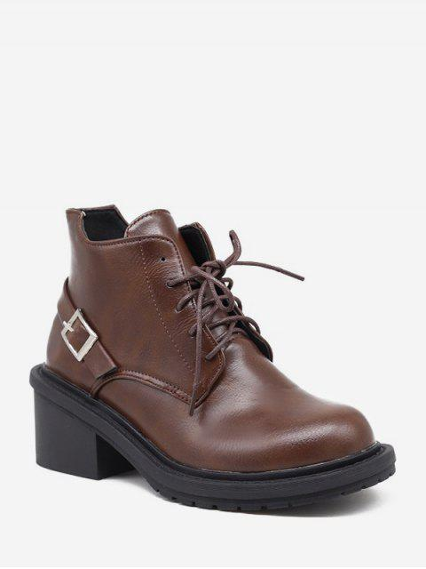 fashion Mid Block Heel Lace Up Ankle Boots - BROWN EU 35 Mobile