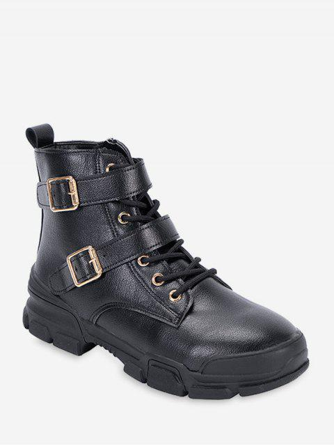 chic Dual Buckle Mid Heel Short Boots - BLACK EU 36 Mobile
