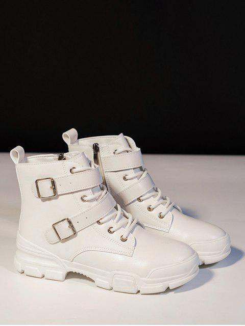 affordable Dual Buckle Mid Heel Short Boots - WHITE EU 38 Mobile