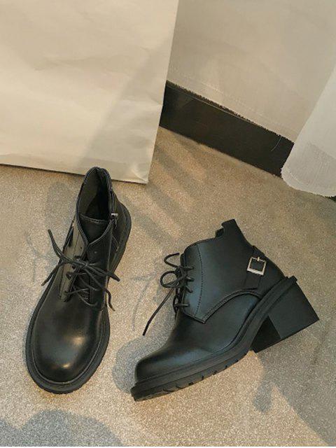 ladies Mid Block Heel Lace Up Ankle Boots - BLACK EU 36 Mobile