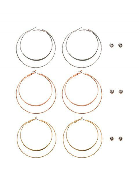 6 пар Горный хрусталь Двойной круг Серьги Набор - Золотой  Mobile