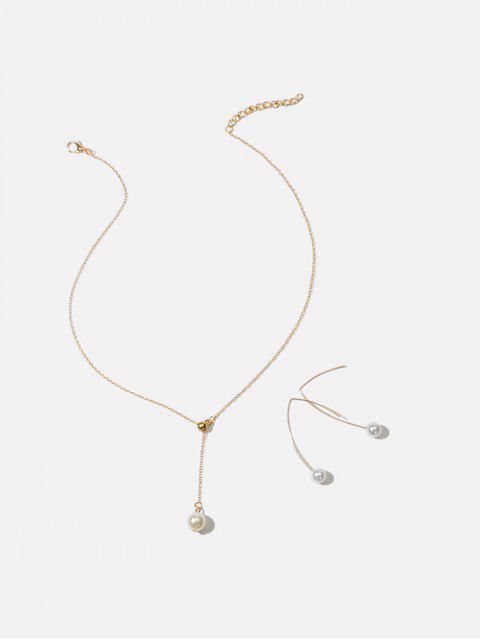 Ensemble de Bijoux Simple en Perle Artificielle - Or  Mobile