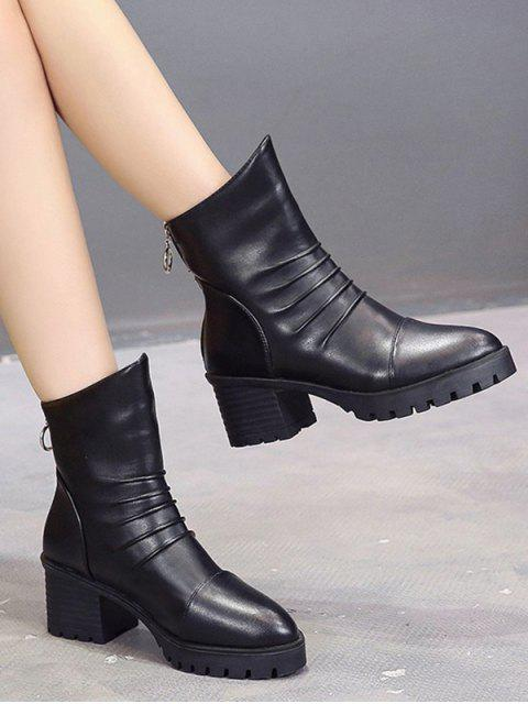 buy Pleated Pointed Toe Mid Heel Boots - BLACK EU 35 Mobile