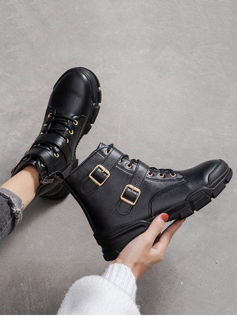 online Dual Buckle Mid Heel Short Boots - BLACK EU 35 Mobile
