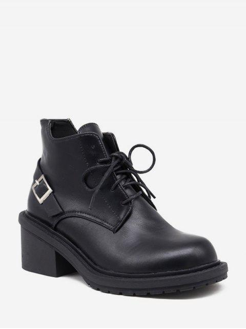 hot Mid Block Heel Lace Up Ankle Boots - BLACK EU 38 Mobile