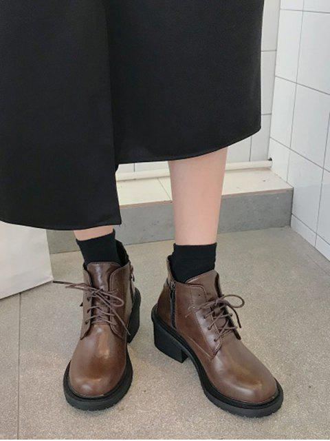 fancy Mid Block Heel Lace Up Ankle Boots - BROWN EU 38 Mobile