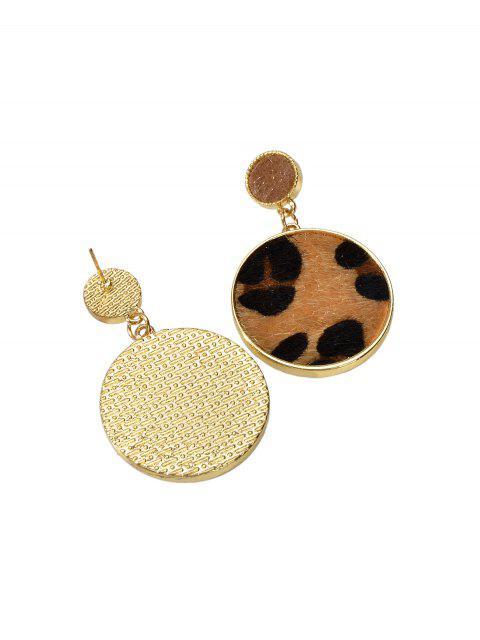 Принт леопарда Искусственный мех Круглые Серьги с подвеской - Золотой  Mobile