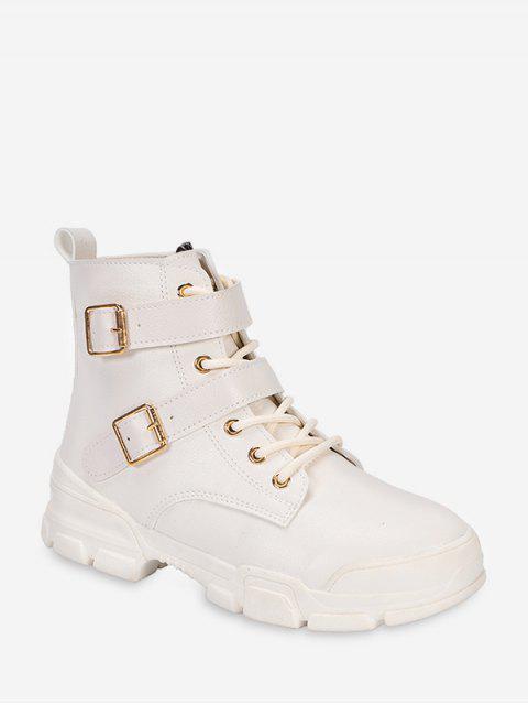 online Dual Buckle Mid Heel Short Boots - WHITE EU 39 Mobile