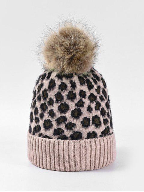 latest Leopard Fleece Knitted Bobble Hat - PINK  Mobile