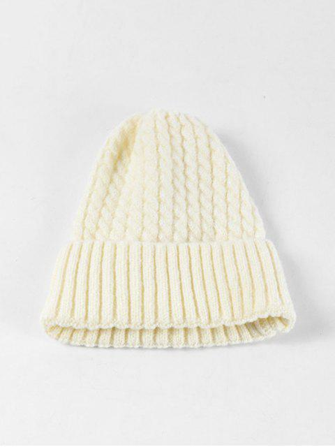 fashion Braid Turn Up Edge Knitted Hat - WHITE  Mobile