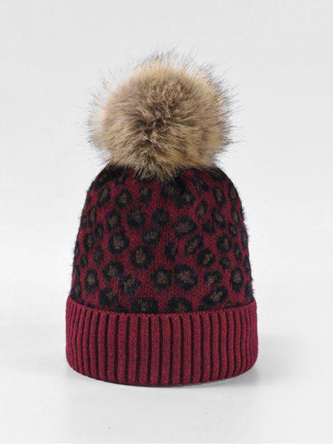 fancy Leopard Fleece Knitted Bobble Hat - RED  Mobile