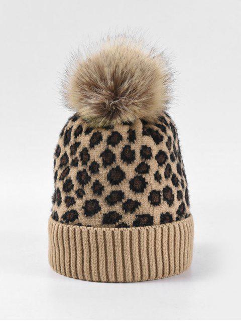 sale Leopard Fleece Knitted Bobble Hat - CAMEL BROWN  Mobile