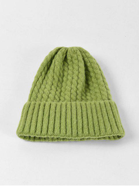 affordable Braid Turn Up Edge Knitted Hat - PISTACHIO GREEN  Mobile