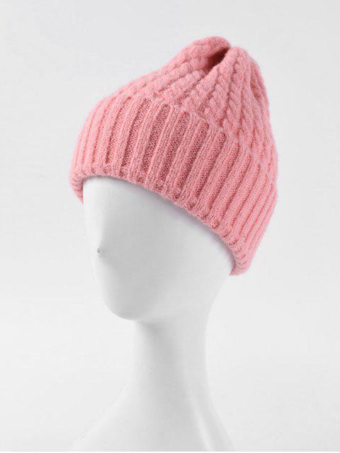 Chapeau d'Hiver Tressé à Ourlet Roulé - Rose   Mobile