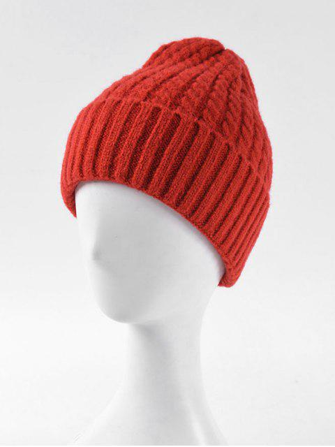 online Braid Turn Up Edge Knitted Hat - RED  Mobile