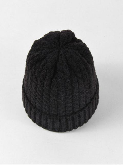 shops Braid Turn Up Edge Knitted Hat - BLACK  Mobile