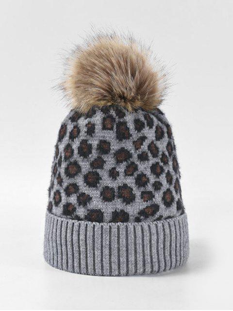 women's Leopard Fleece Knitted Bobble Hat - GRAY  Mobile