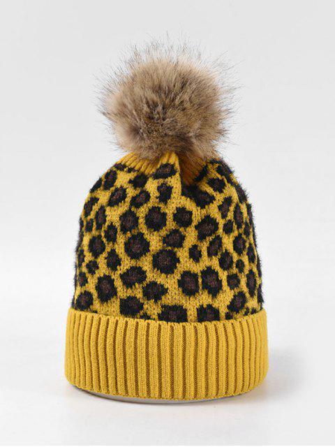 online Leopard Fleece Knitted Bobble Hat - YELLOW  Mobile