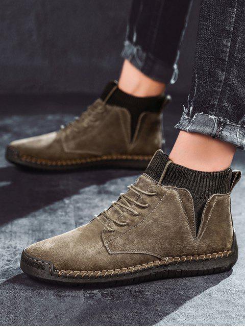 outfits Casual Patch Sock Fleece Ankle Boots - KHAKI EU 43 Mobile