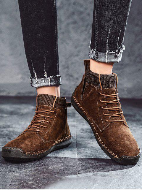 Casual Patch calcetín Fleece las botas del tobillo - Marrón EU 43 Mobile