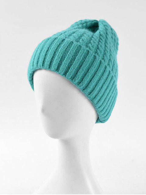 fashion Braid Turn Up Edge Knitted Hat - MACAW BLUE GREEN  Mobile