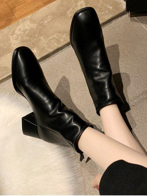 fashion Square Toe Mid Heel Plain Ankle Boots - BLACK EU 36 Mobile