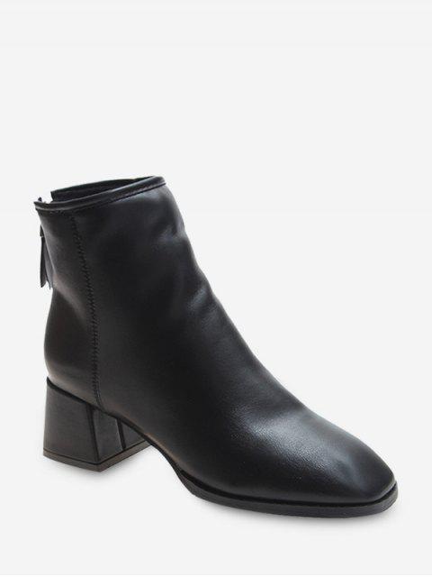 unique Square Toe Mid Heel Plain Ankle Boots - BLACK EU 38 Mobile
