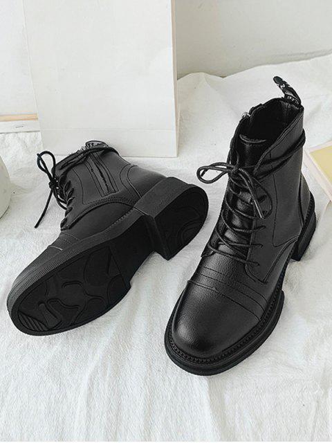 buy Mid Chunky Heel PU Leather Cargo Boots - BLACK EU 37 Mobile