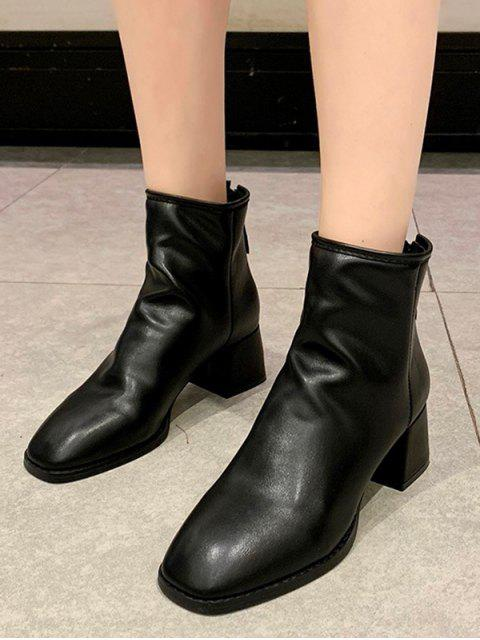 womens Square Toe Mid Heel Plain Ankle Boots - BLACK EU 37 Mobile