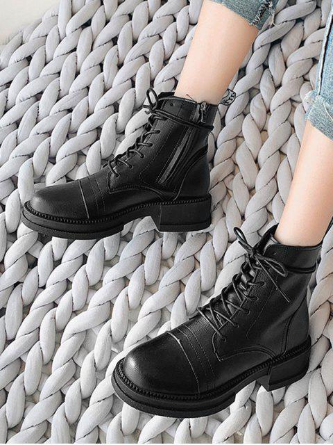 ladies Mid Chunky Heel PU Leather Cargo Boots - BLACK EU 40 Mobile