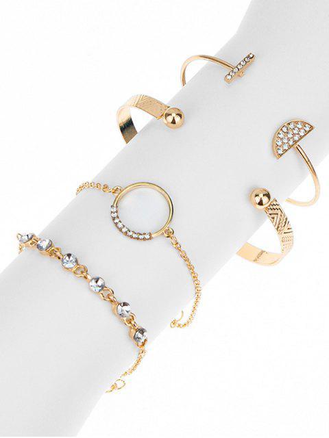 lady 4Pcs Geometric Rhinestone Bracelet Set - GOLD  Mobile