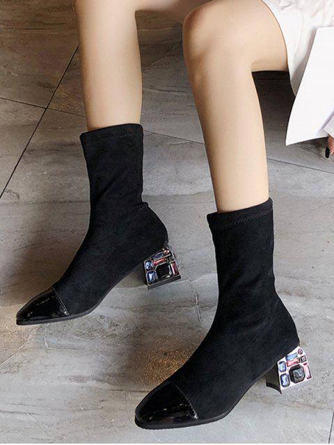 new Rhinestone Chunky Heel Suede Mid Calf Boots - BLACK EU 39 Mobile