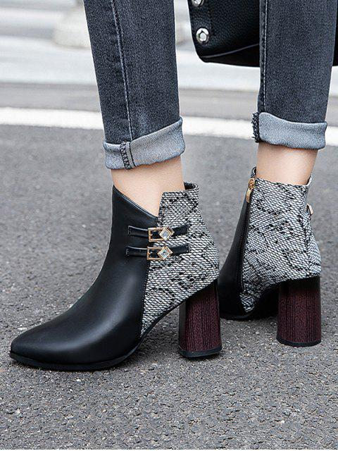 hot Snakeskin Panel Chunky Heel Pointed Toe Boots - WHITE EU 35 Mobile