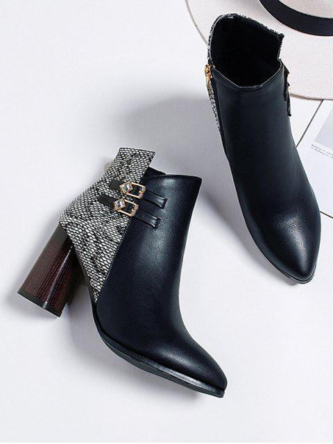 shops Snakeskin Panel Chunky Heel Pointed Toe Boots - WHITE EU 36 Mobile
