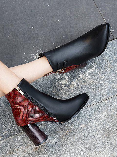 fashion Snakeskin Panel Chunky Heel Pointed Toe Boots - CHESTNUT RED EU 35 Mobile