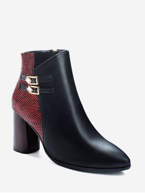 chic Snakeskin Panel Chunky Heel Pointed Toe Boots - CHESTNUT RED EU 37 Mobile