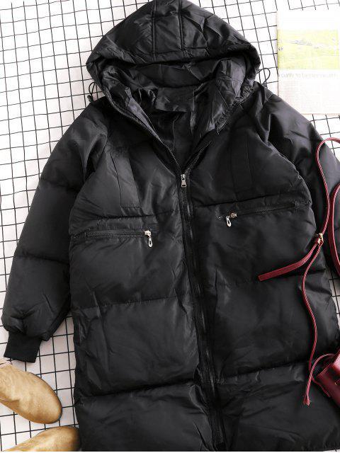Capa encapuchada acolchada bolsillo manga raglán palangre - Negro S Mobile