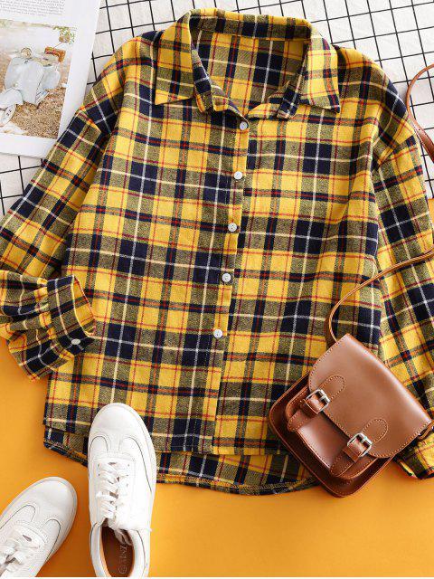 womens Plaid Flannel Drop Shoulder Shirt - YELLOW XL Mobile