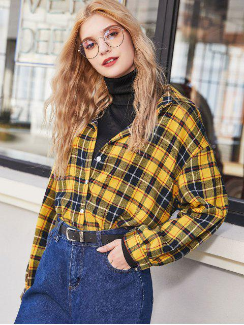 outfit Plaid Flannel Drop Shoulder Shirt - YELLOW L Mobile