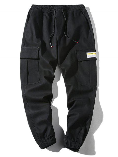 latest Applique Flap Pocket Drawstring Casual Jogger Pants - BLACK S Mobile