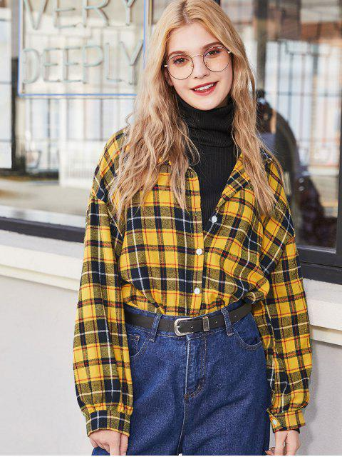 women Plaid Flannel Drop Shoulder Shirt - YELLOW M Mobile