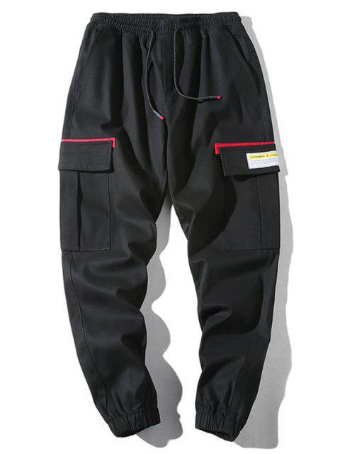unique Applique Flap Pocket Drawstring Casual Jogger Pants - LAVA RED M Mobile