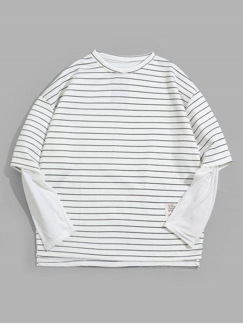 Faux dos piezas de rayas Imprimir manga larga - Blanco L Mobile