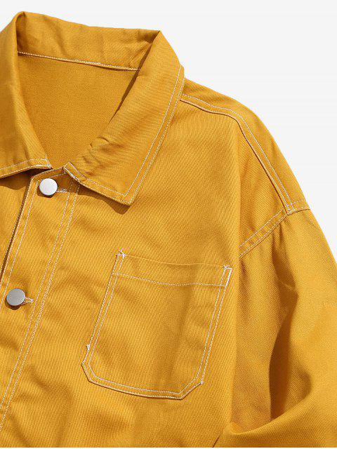 outfits Turn Down Collar Stitching Pockets Casual Jacket - YELLOW M Mobile