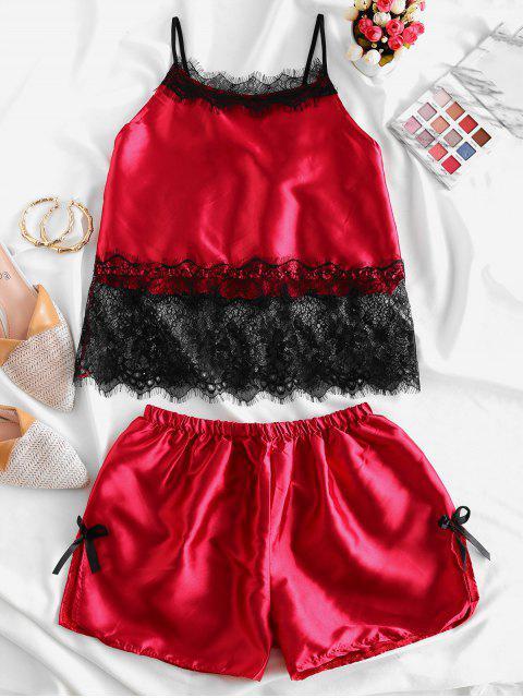 Hendidura pijamas Set Panel de satén del Bowknot de pestañas de encaje - Vino Tinto S Mobile
