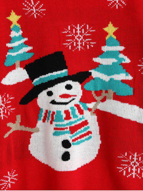 Muñeco de nieve del copo de nieve suéter de cuello redondo - Multicolor-A Talla única Mobile